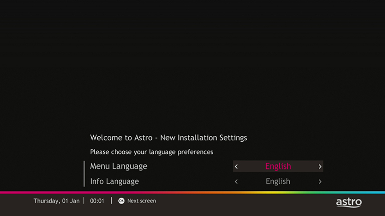 New Installation Setting | Help & Support | Astro